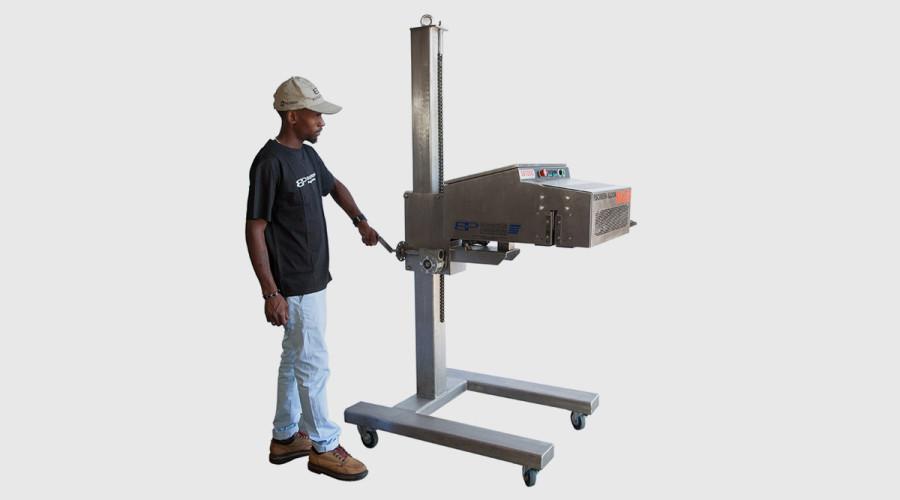 Model SH1000 Saxon Sealer mounted on Special 304 stainless steel adjutable pedestal