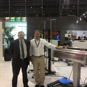On the Fischbein stand at Interpack 2017 in Germany with a SAXON SB4000 Band sealer sold to a pet food manufacturer in South Africa